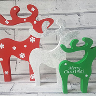 Reindeer decorations, free standing deer family, freestanding christmas decor