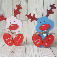 Babys 1st christmas personalised wooden reindeer, christmas decor