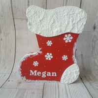 Christmas personalised wooden stocking, christmas decoration, boys or girls