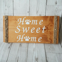Home Sweet Home Sign paw print, new home gift, wooden sign indoor outdoor