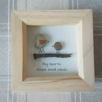 Teacher gift, Big hearts shape small minds, pebble art box frame, pebblesrokuk