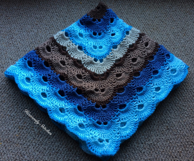 Gorgeous Baby Boy Crochet Blanket Fit For A Cot Folksy