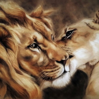Large Lion and Lioness Print, original safari animal artwork.