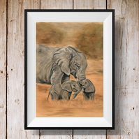 Elephant Print - Elephant Picture - Elephant Gift - Mother and Baby Elephant