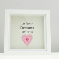 Handmade Fabric Heart in a Boxed Frame with a Quote