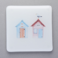 SALE Handmade Fused Glass Beach Hut Coaster