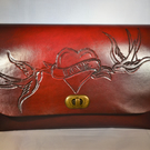 Hand Carved Leather Clutch Bag
