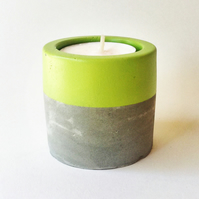 Concrete tea light holder with pistachio green stripe