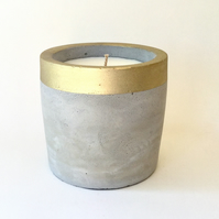 Concrete Pot Candle with Lemongrass Scented Wax