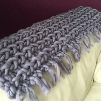 Hand knitted Lap blanket with fringe