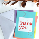 Thank You Cards, Pack of 4, A5 with White Envelopes, Assorted Notecard Colours