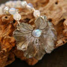 Ladies Mantle and Moonstone Pendant in Real Silver, One of a Kind