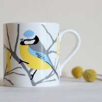Blue Tit and Catkin English fine bone china mug