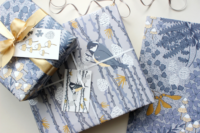 Coal Tit and Forest Floor gift wrap set