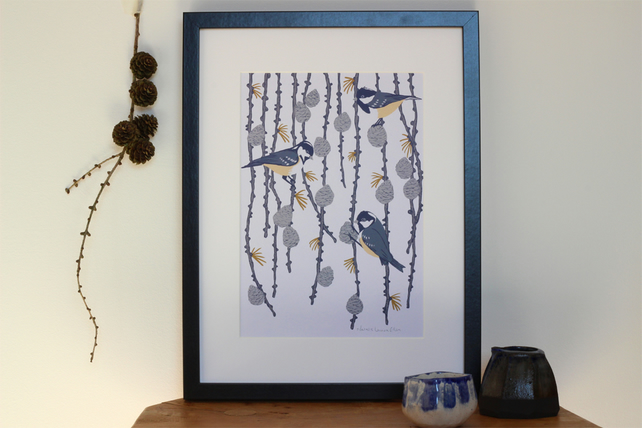 Coal Tit and Pine Cone A4 art print