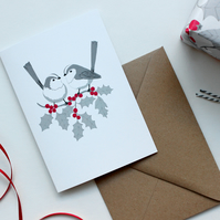 Long-tailed Tit and Holly card