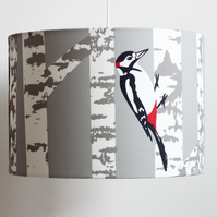 Woodpecker and Silver Birch lampshade