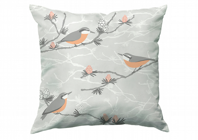 Nuthatch and Larch cushion