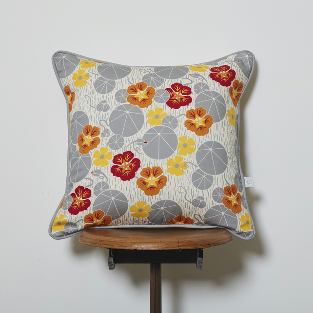 Nasturtium and Black-Eyed-Susan cushion