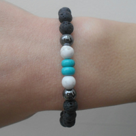 Handmade Childs Lava Stone Essential Oils Diffuser Bracelet with Turquoise