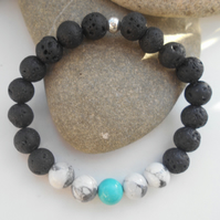 Handmade Lava Stone Essential Oil Diffuser Bracelet with Howlite & Turquoise