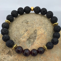 Handmade Essential Oil Diffuser Aromatherapy Bracelet with Lava Stone & Garnet
