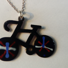 Bicycle enamel pendant with silver chain