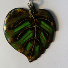 Enamel and silver wire leaf pendant with silver chain