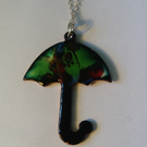 Umbrella enamel pendant with silver chain