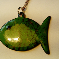 Enamel little fishy fish pendant with silver chain