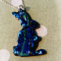 Enamel bunny rabbit pendant with silver chain necklace