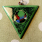 Enamel triangular pendant with silver wire silver chain necklace