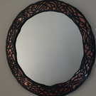 Round mirror - individual design copper and steel frame