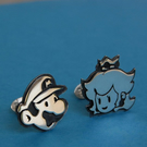 Mario and Princess peach sterling silver cufflinks