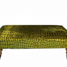 LUXURIOUS BESPOKE XX LARGE FOOTSTOOL IN DESIGNERS GUILD CRUSH VELVET LIME