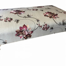 BESPOKE XX LARGE FOOTSTOOL PRETTY STONE GREY FLORAL BROCADE