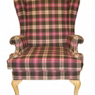 PARKER KNOLL WING CHAIR UPCYCLED IN ABRAHAM MOON PINK CHECK WOOL FABRIC