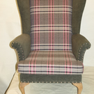 ONE OFF UPCYCLED WING CHAIR NEWLY UPHOLSTERED IN GREY PINK AND WHITE CHECK
