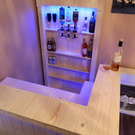 Solid pine home bar with lights and optics