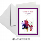 Winnie The Pooh And Piglet Watercolour Splatter Greeting Card