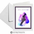 Michael Jackson Watercolour Splatter Greeting Card