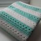 Large Green and white crochet baby blanket