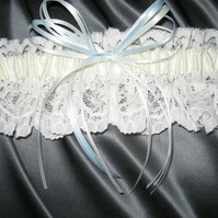 Wedding Garter With Ivory & Blue