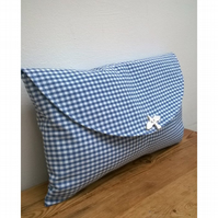 Blue and white gingham clutch bag