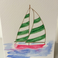 One original watercolour card and matching gift tag