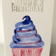 Original hand painted watercolour birthday card in a blue cupcake design