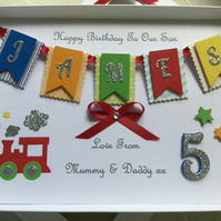 Handmade Personalised Birthday Card Keepsake Son Grandson Any Age 1st 2 3 Boxed