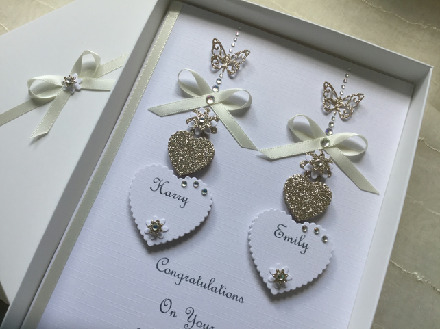 Personalised Handmade Wedding Day Card Engagement Any Anniversary Gift Boxed