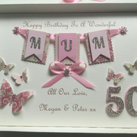 Personalised Gift Boxed Birthday Card Mum Wife Daughter 21 30 40 50 60 Any Age