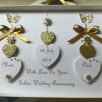 Personalised Handmade Golden Wedding Anniversary Card Mum Dad 50th Gift Boxed